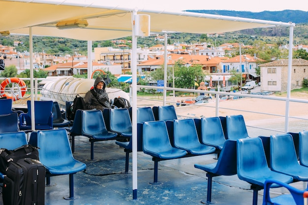 Pilgrims take a ferry to the holy mountain athos Premium Photo
