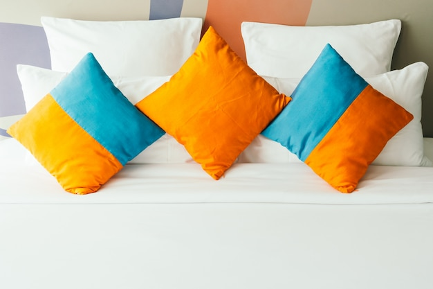 Pillow on bed Free Photo