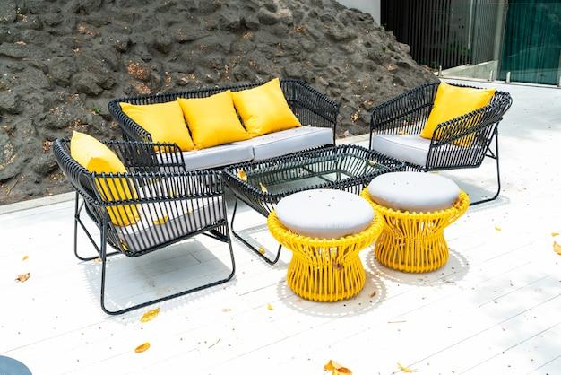 Pillow on sofa decoration outdoor patio Premium Photo