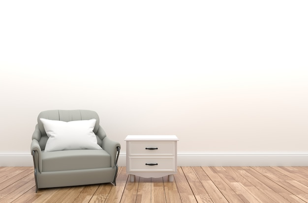 Pillow and sofa on the empty white wall with shelf,3d rendering