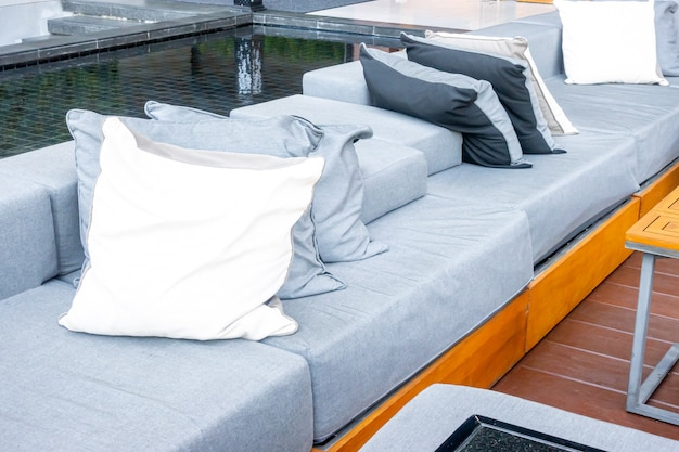 Pillows with outdoor patio deck and sofa Premium Photo