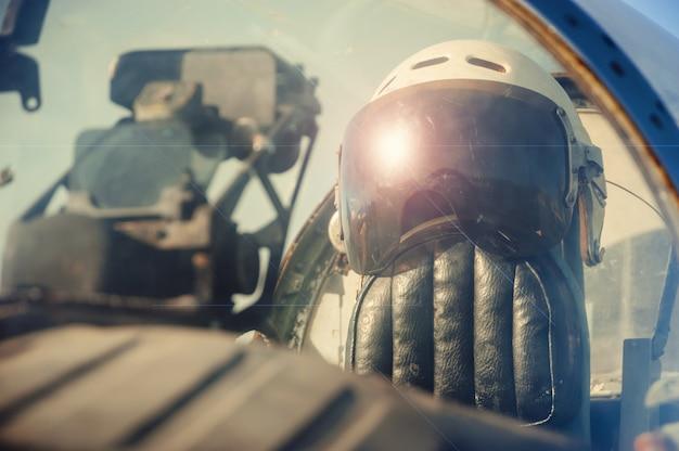 Pilot's old helmet. Premium Photo