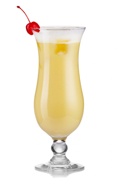Pina colada drink cocktail glass isolated on white Premium Photo