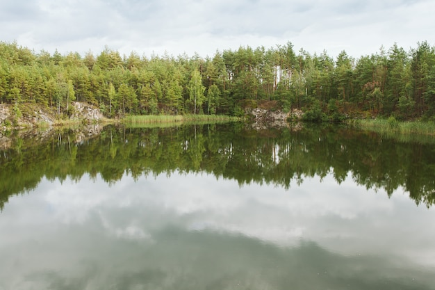 Pine forest reflected in the quary lake. ukraine Premium Photo