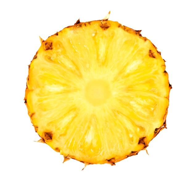 Pineapple slice isolated on white background Premium Photo