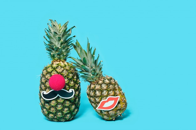 Pineapples mr. and mrs. party and wedding concept. Premium Photo