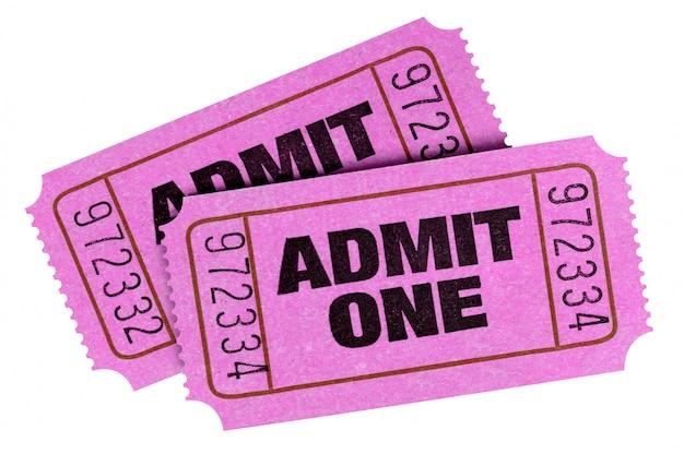 Розовый признать один билеты, изолированные на белом Бесплатные Фотографии
