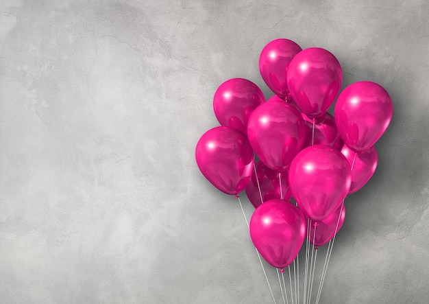 Pink air balloons group on a light concrete wall banner. 3d illustration render Premium Photo
