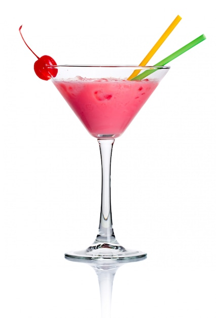 Pink alcohol cocktail in martini glass isolated Premium Photo