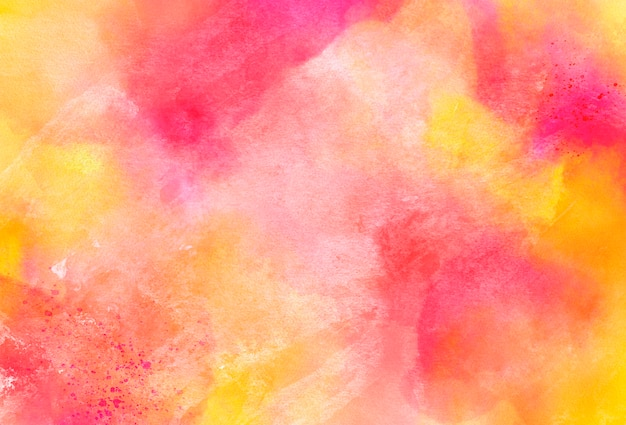 ピンクと黄色の水彩テクスチャの背景 無料写真
