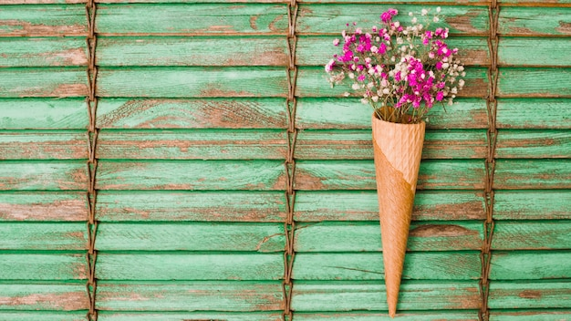 Pink baby's-breath flowers inside the waffle cone against wooden shutters Free Photo