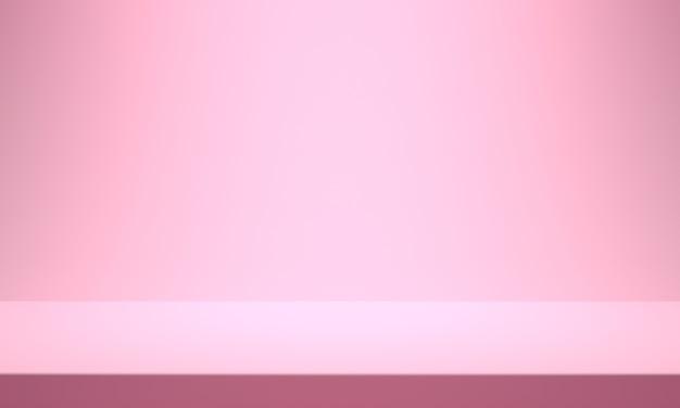 분홍색 배경 제품. 배경 쇼케이스 배경. 3d 렌더링 프리미엄 사진