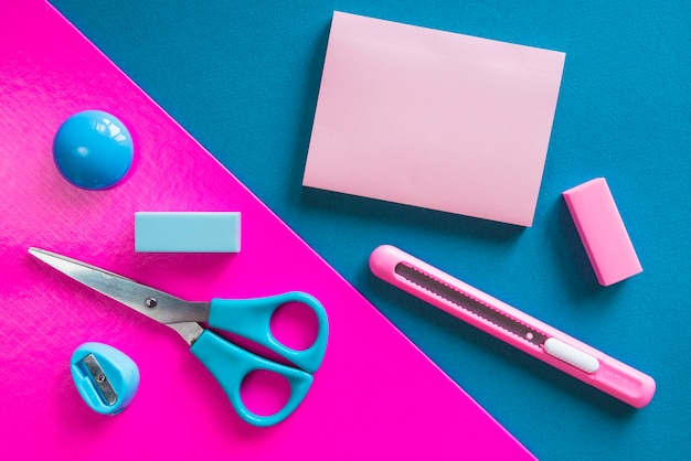 Pink and blue essential stationery Free Photo