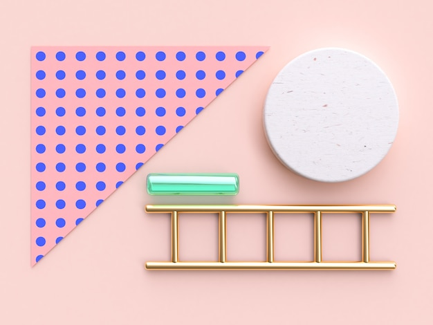 Pink blue pattern gold green abstract object geometric flat lay background 3d render Premium Photo