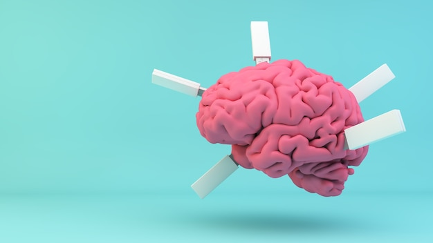 Pink brain with plugged usb on blue background 3d rendering concept Premium Photo