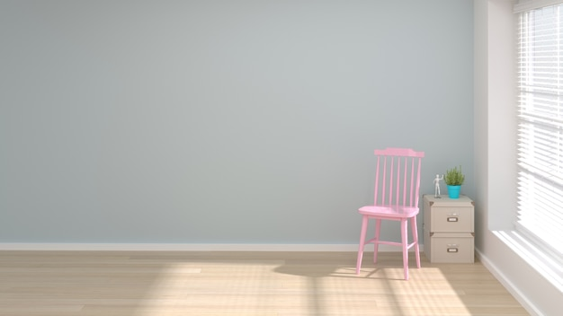 Pink Chair In Living Room Object Minimal Concept Empty Clean Wall Premium Photo