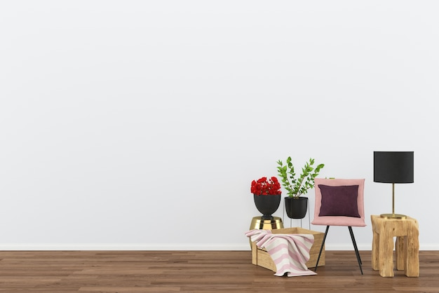 Pink chair wood box decor 3d rendering wooden floor gold table Premium Photo