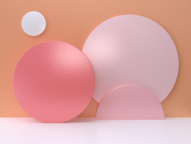 ピンクの円オレンジ色の壁最小限の抽象的な3 dレンダリング Premium写真