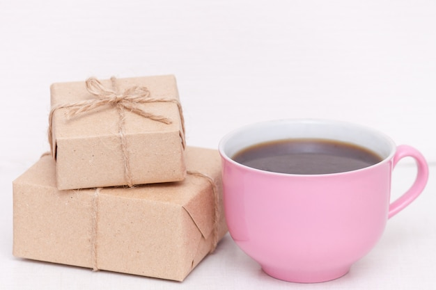 Pink Cup Of Coffee With Pressents Good Morning For Woman Wife