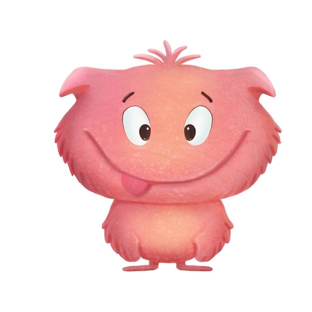 Pink cute cartoon funny monster on white Premium Photo
