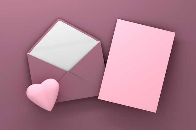 Pink envelope and pink blank card with heart Premium Photo