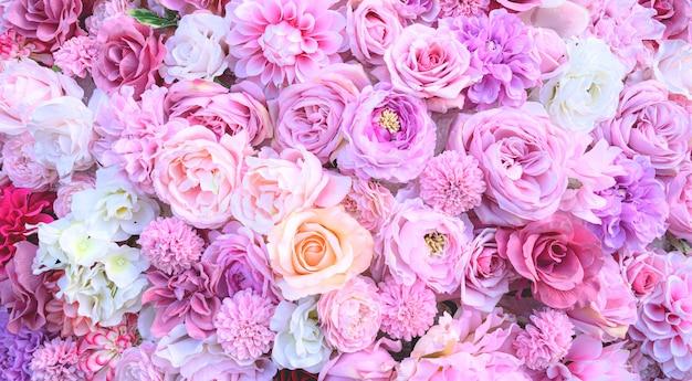 Pink flower background.wedding concept background. Premium Photo