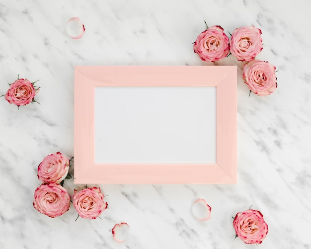 Pink frame surrounded by roses Free Photo