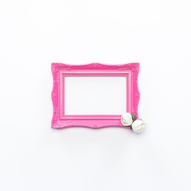 Pink frame white flower vintage background Free Photo