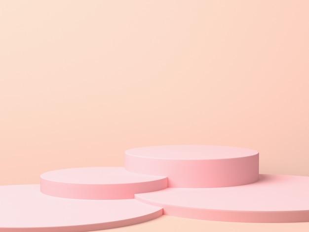 핑크 기하학적 3d 제품 디스플레이 배경 개념, 추상 연단 실린더, 크리 에이 티브 광고 광고에 대 한 원형 스탠드. 3d 렌더링 프리미엄 사진