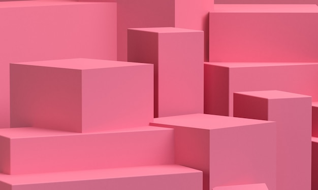 Pink geometric shape  primitive geometrical. minimalist abstract background, 3d render. Premium Photo
