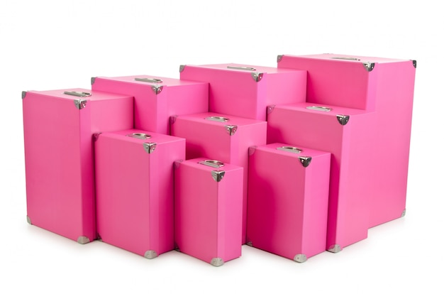 Pink gift boxes isolated Premium Photo