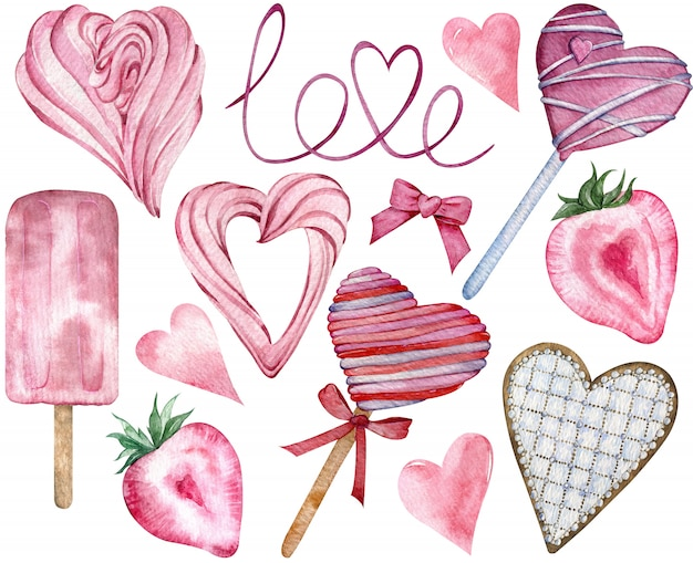 Pink happy valentine's day candy hearts. watercolor hand-drawn heart-shaped sweet elements. Premium Photo