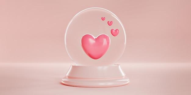 파스텔 핑크 배경에 마법의 유리 구형 공에 핑크 하트. 프리미엄 사진