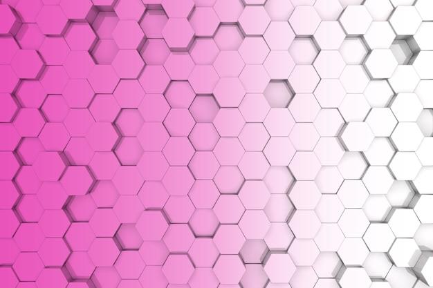 분홍색 육각형 배경입니다. 3d 배경 프리미엄 사진