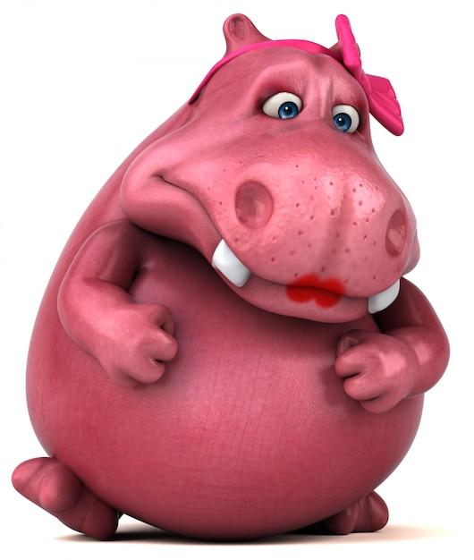 Розовая анимация бегемота Premium Фотографии