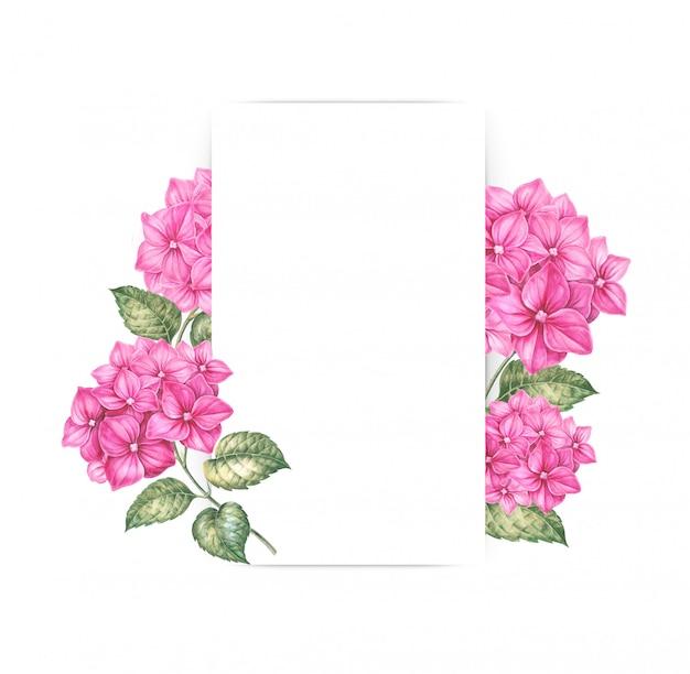 Pink hydrangea flowers decorating a blank frame Premium Photo