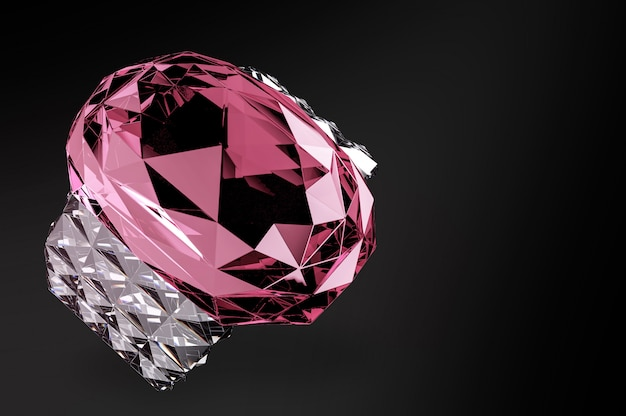 Pink jewelry diamond gem stone ring with clipping path Premium Photo