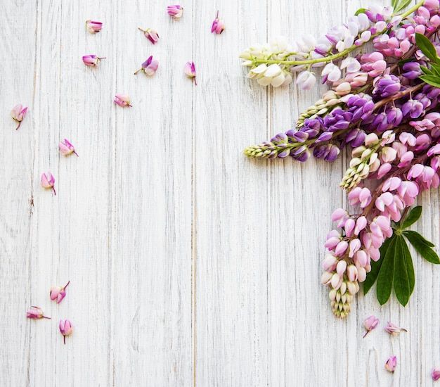 Pink  lupine flowers top view background Premium Photo