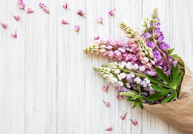 Pink  lupine flowers Premium Photo