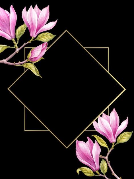 Pink magnolia flowers. Premium Photo