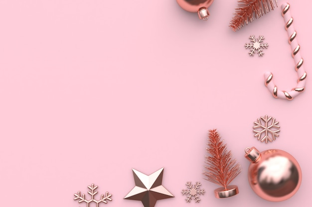 Pink metallic glossy-rose gold 3d rendering christmas ornament background Premium Photo