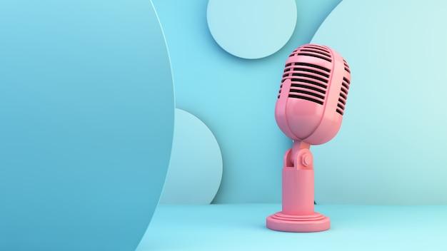 青色の背景にピンクのマイク Premium写真