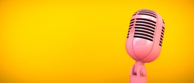 黄色の部屋にピンクのマイク、3 dレンダリング Premium写真