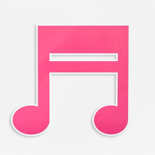 Pink music note icon isolated Free Photo