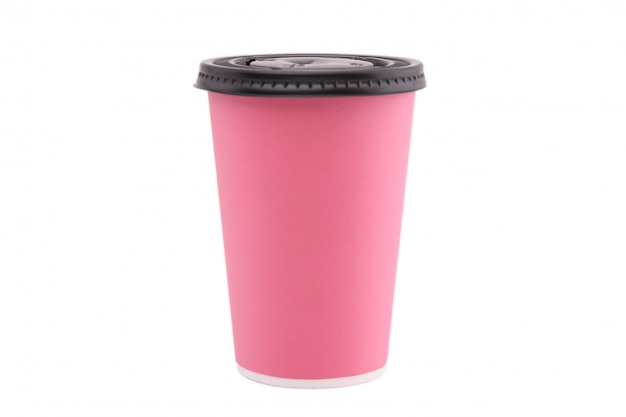 Pink paper cup isolated on white background. Premium Photo