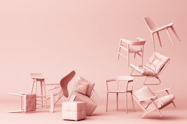 Pink pastel chairs in empty pink background concept of minimalism & installation art 3d rendering Premium Photo