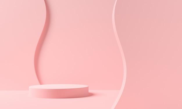 제품 발표를위한 핑크 파스텔 연단 또는 받침대. 3d 렌더링 프리미엄 사진