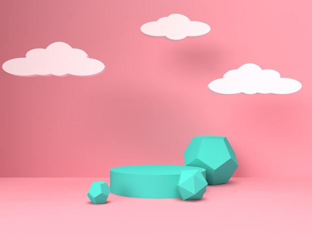 Pink pastel product stand on background. abstract minimal geometry concept Premium Photo