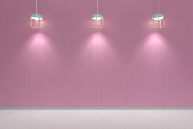 Pink pastel wall white wood floor background texture lamp mockup Premium Photo