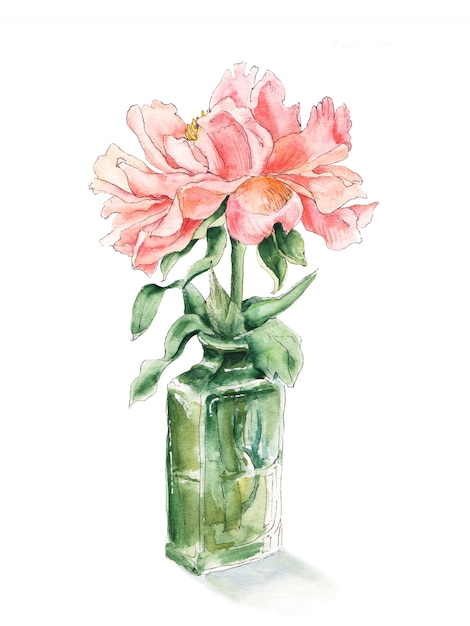 Pink peony in green glass bottle Premium Photo